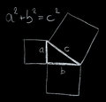 Pythagoras theorem on the blackboard rule for the squares of the sides of a rectangular triangle Stock Photos
