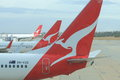 Qantas airplanes wait for departure at melbourne airport Royalty Free Stock Photos