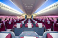 Qatar airways economy class at singapore airshow section of boeing dreamliner on display the Royalty Free Stock Photography