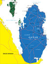 Qatar map highly detailed vector of with administrative regions main cities and roads Royalty Free Stock Photo
