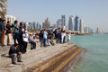 Qatar national day doha spectators watching the air show from the corniche december th in middle east Royalty Free Stock Photo