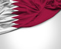 Qatar Waving Flag On White Bac...