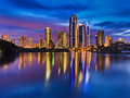 Qe surfers paradise river reflect rise australia queensland cbd city reflection in still waters of at sunrise blue pink cloudy sky Royalty Free Stock Images