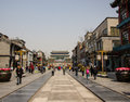 Qianmen street in beijing china located at the central axis of the city it is a famous pedestrian it runs from jianlou the archery Royalty Free Stock Image