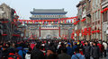 Qianmen street in Beijing during Spring Festival Royalty Free Stock Photography