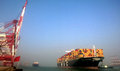Qingdao port container terminal the world s largest ship mary maersk maiden voyage Royalty Free Stock Photo