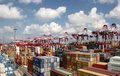 Qingdao port container terminal the world s largest ship mary maersk maiden voyage Stock Photo