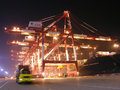 Qingdao port container terminal the world s largest ship mary maersk maiden voyage Royalty Free Stock Photos