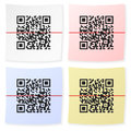 Qr bar code sticker white background Stock Photos
