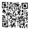 QR code broken into black pieces isolated Stock Photo