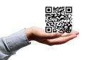 QR code in hand Royalty Free Stock Image