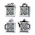 Qr code icons set of pictograms for website Stock Images
