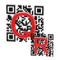 Qr code illustration made of two codes and letters isolated on white Stock Images