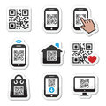 Qr code on mobile or cell phone icons set scanning with smartphone vector labels isolated white Stock Image