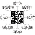 Qr code scan barcode to learn info on products a grid illustrating the types of information you can by scanning the a product you Stock Photo