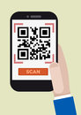 Qr code scan minimalistic illustration of hand holding a smartphone with a running application Stock Photos