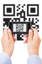 Qr code scanning female hands isolated on white Royalty Free Stock Images