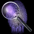 Qr fingerprint under magnifying glass uv lit over made of pixels and code d rendering ultraviolet lighting Royalty Free Stock Images
