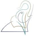 Quack elephant brush stroke line art design Stock Photos