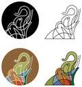 Quack elephant line art design set Royalty Free Stock Photography