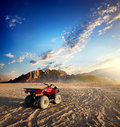 Quad bike in desert Royalty Free Stock Photo