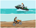 Quad bike and watercraft the man is engaged in extreme sports vector illustration Royalty Free Stock Images