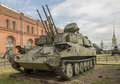 Quad mm self propelled anti aircraft gun zsu russia saint petersburg july shilka weight kg installation in military history museum Royalty Free Stock Photo