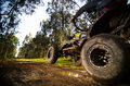 Quad rider jumping on a muddy forest trail Royalty Free Stock Photography