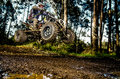 Quad rider jumping on a muddy forest trail Royalty Free Stock Images