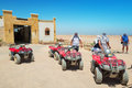 Quad trip on the desert near hurghada april safari is one of main local tourist attraction in egypt Royalty Free Stock Image