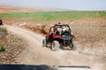 Quadbike in the desert person on beautiful view Royalty Free Stock Images