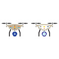 Quadcopter with camera line icon, outline and solid vector sign,