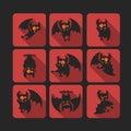 Quadrate flat vector icon set with vampire bat for Halloween.