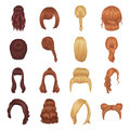 Quads, blond braids and other types of hairstyles. Back hairstyle set collection icons in cartoon style vector symbol