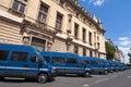 Quai des orfevres paris france range of police trucks Royalty Free Stock Image