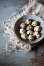 Quail eggs on bowl on blue wooden rustic table with old frayed cloth Royalty Free Stock Photos