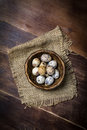 Quail Eggs In Bowl On Wooden B...