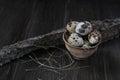Quail Eggs In Clay Pot On Dark...