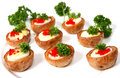Quails' egg canapes Stock Images