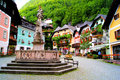 Quaint austrian square colorful town in the village of hallstatt austria Royalty Free Stock Image