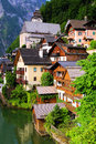 Quaint austrian village traditional wooden houses of the of hallstatt Royalty Free Stock Image