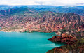 Quake lake landform ancient old red green mountain hill blue Royalty Free Stock Photos