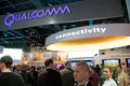 Qualcomm convention booth ces las vegas nv usa exhibit at featuring their connectivity technologies used by industry partners in Royalty Free Stock Images