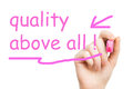 Quality above all pink marker on white background Royalty Free Stock Photo