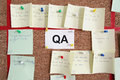 Quality assurance section with pinned paper tickets on kanban Royalty Free Stock Photos