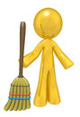 Quality Cleaning Services, Gold Man with Broom Royalty Free Stock Images