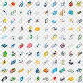 100 quality control icons set, isometric 3d style Royalty Free Stock Photo
