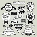 Quality guaranty labels set of badges and retro vintage styled design genuine original certified premium highest the finest new Stock Photos