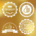 Quality labels set of four white flat Royalty Free Stock Images