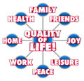 Quality of life diagram firends family home enjoyment happiness d words on a grid or with important factors your including friends Stock Photo